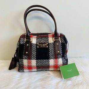 Kate Spade Plaid Wool Tweed w/ Leather Purse Bag!